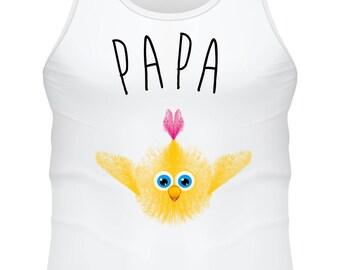 Débardeur blanc- poussin Papa  - F-WD-010