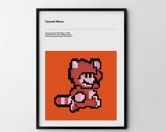 TANOOKI MARIO Video Game Poster Art Print, Retro Video Game Posters 1988, Super Mario 3