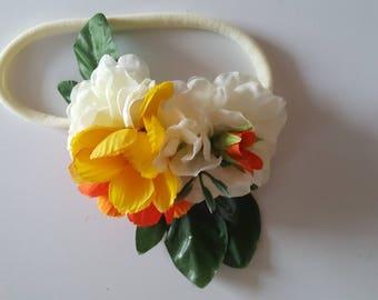 White, Orange & Yellow Flower Cluster