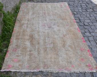 Muted Color Oushak Rug Free Shipping Vintage Rug 4 x 6.8 feet Floor Rug Turkey Rug Home Decor Area Rug Aztec Rug Boho Decor Rug