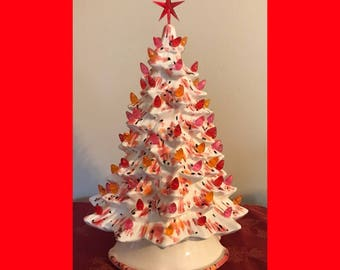 "ceramic Christmas tree light -14"" Christmas tree - table top Christmas tree light- holiday decor"