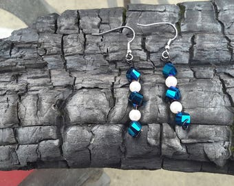 Sapphire Blue Bead and Pearl Earrings