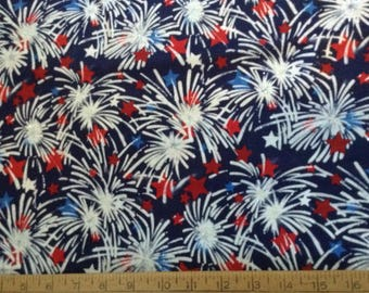 34 inches of Fireworks theme with glitter cotton fabric