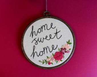 """Home Sweet Home Floral Embroidery Hoop 6"""" Wall Hanging"""