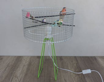 fixture lamp for cage birds has colorful (made to order)