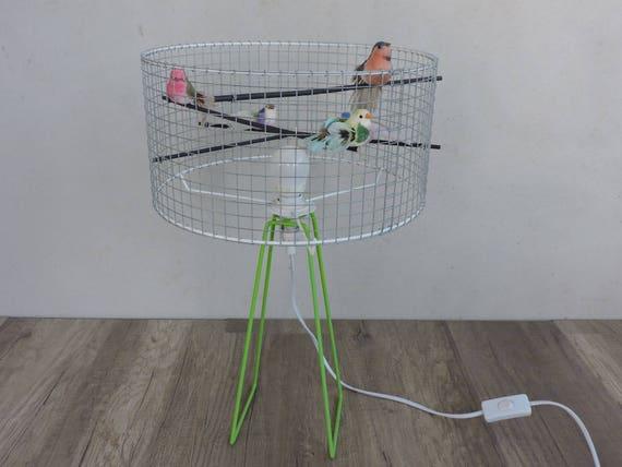 luminaire lampe à poser cage a oiseaux coloré sur commande