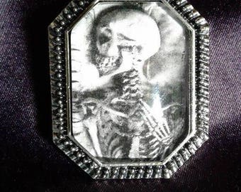 Skeleton Coffin Pendant Cobochon Goth Alternative Horror