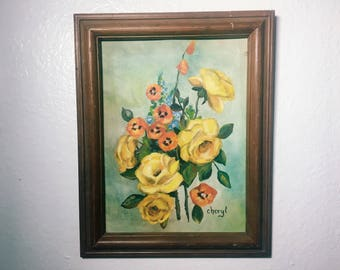 Floral Painting, Vintage Original Art, Signed by Cheryl // SALE