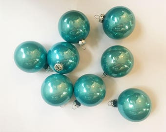 Vintage Christmas Ornaments, Victoria Brand Bulbs, Light Blue Set of 8