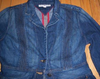 Vintage Tommy Hilfiger Denim Jean Jacket Shirt Women's Medium 100% Cotton Blue