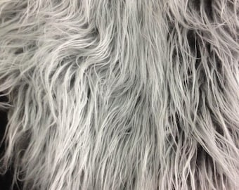 """Gray-White Faux Long Pile Fur Fabric Toys Costumes Width 59"""" (150 cm)"""