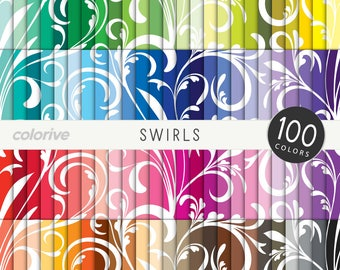 Swirls digital paper 100 rainbow colors simple floral swirls background brights pastels neutrals printable scrapbooking paper