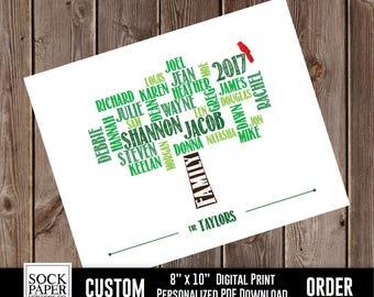 Custom Family Tree Digital Download, Custom Family Art, Personalized Family Tree, Family Tree With Bird, Family Tree Gift, Sku-CHO120