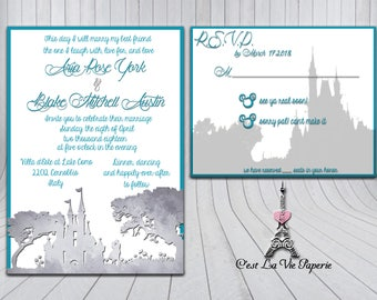 Cinderella Castle Couple Wedding Invitation Suite *CUSTOMIZABLE