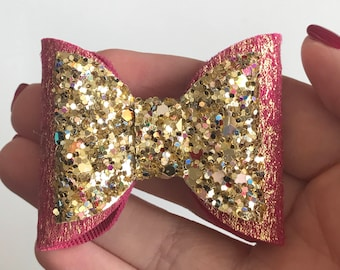 Fuschia and gold double medium bow, gold bow, sparkly bow, christmas bow, baby headband, baby bow