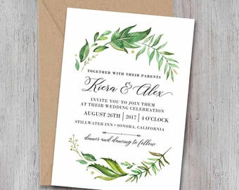Leafy green Wedding Invite Set, Floral Wedding Invitations, Rustic Invite, Printable Wedding Invitation, Garden wedding,watercolor / Julieth