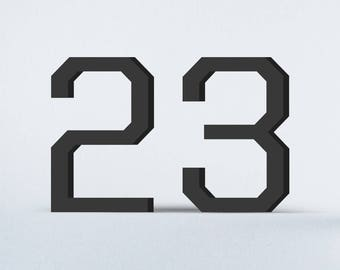 Flat Cut Acrylic House Numbers - United Sans Regular Medium