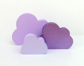 Lilac Nursery Decor . Wooden Cloud Ornament . Wooden Nursery Decor . Purple Nursery . Cloud Nursery Decor . Purple Glitter Home Decor .