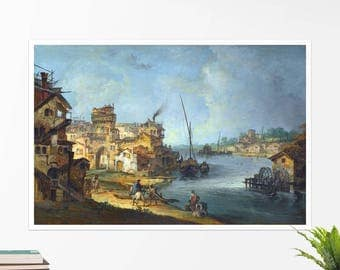 "Michele Marieschi ""Buildings and Figures near a River"", art poster, art print, rolled canvas, art canvas, wall art, wall decor"