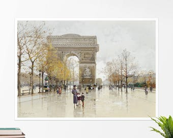 "Galien-Laloue, ""Arc de Triomphe"". Art poster, art print, rolled canvas, art canvas, wall art, wall decor"