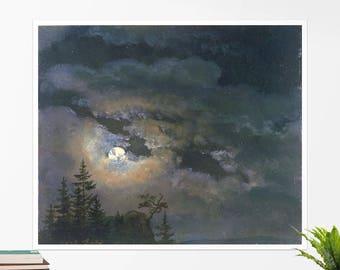 """Johan Dahl, """"A Cloud and Landscape Study by Moonlight"""". Art poster, art print, rolled canvas, art canvas, wall art, wall decor"""