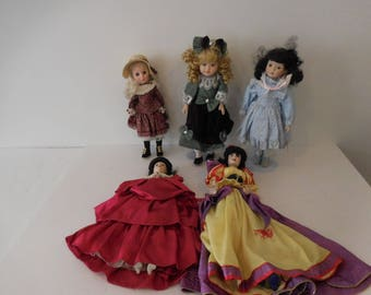 """Doll Collection-Franklin Heirloom 17"""" Joanna, Snow White 19"""" & 3 other dolls"""
