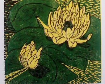 Yellow Water Lily  Linocut Print