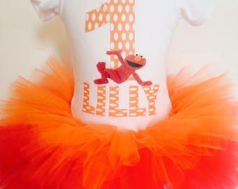 Elmo birthday outfit,Elmo t-shirt,Elmo shirt,Custom t-shirt,three tier tutu, Sesame Street Birthday Outfit,Girl's tutu.(any age)(any name).