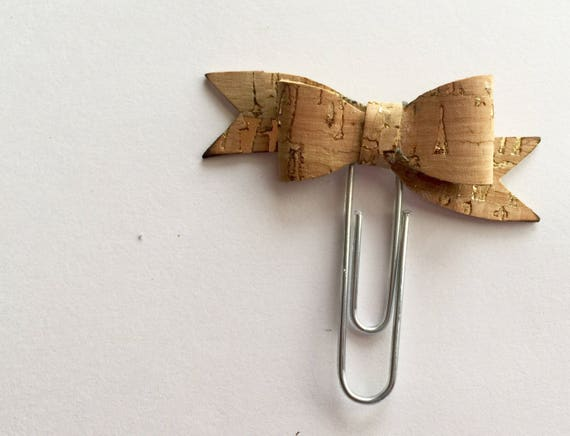 Cute cork fabric bow planner paperclip, Planner charm, Bow charm