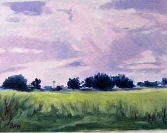 Pink Clouds - Landscape Study, Oils 300 x 400 mm Unframed