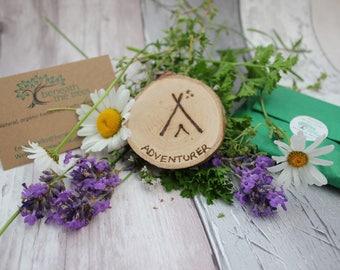 Adventurer Natural Wood Slice Magnet - Tent - Camping - Stars - Tepee - Holiday - Travel - Wanderlust - Rustic - Fridge Magnet