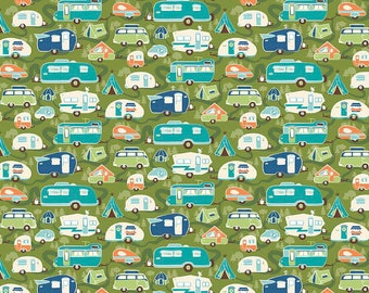 Riley Blake Road Trip - C5622-GREEN - Retro Camper Fabric - Travel Trailer - RV -  Kelly Panacci - Quilting Cotton - Vintage Camper