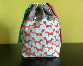 "Handmade Drawstring bag / pouch for knitting accessories 8.75"" x 5"" x 3.5"" *Gathering in the Woods*"
