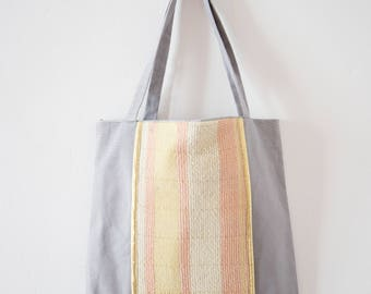 Purse in cottons and woven band, yellow, pink and gold - weaving coverings