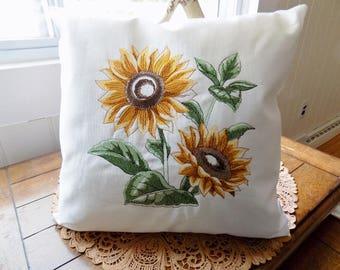 Sunflower Sketch Toss Pillow