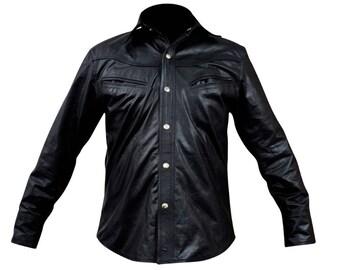 Mens Black Leather Full Sleeve Shirt