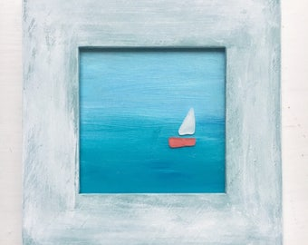 Sea glass art abstract art, sailboat on ombre painting of aqua seas & blue skies. Wood frame table or wall Nautical, coastal decor, cottage
