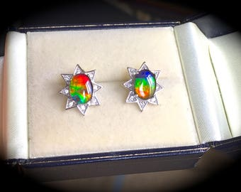 Ammolite Earrings 8x6mm Stones 'Certified' Premium Quality Sterling Silver Jewellery - Exquisite Colours!