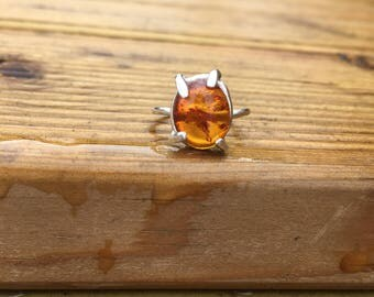 Amber Claw Ring