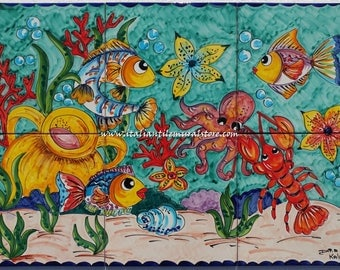 This mural tiles and depicts a beautiful boldly colored undersea scene of tropical fish. Custom for You!!