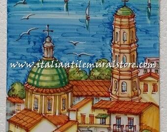 Decorative tile garden Vietri. Mosaic hand painted. Beautifull landscape tile. Tile customized. Tiles art backsplash. Decorative tiles