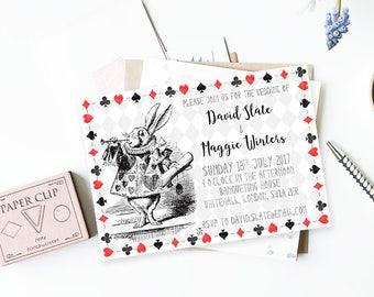 Alice in Wonderland Invitation - Printable Invitations - Custom Invitations (White Rabbit)