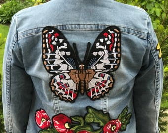The Gucci Wannabe: Denim Jacket with Large Embroidered Butterflies,Red Poppies, Mirror Yellow flowers, and Bee