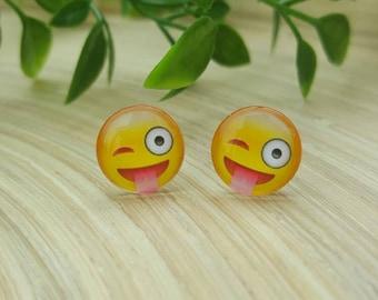 Emoji Winking Glass Cabochon Stud Earrings