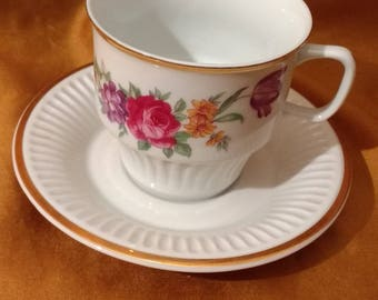 Beautiful Pristine Vintage Czech Floral Cup & Saucer in Pristine Condition Red Orange and Purple Flowers