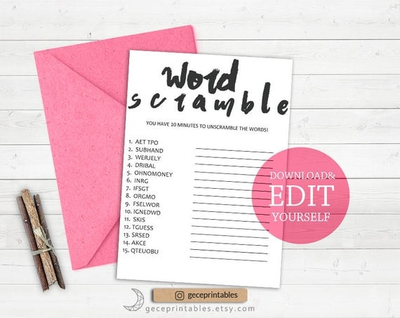 Word scramble game editable game bridal shower games unscramble il570xn solutioingenieria Images