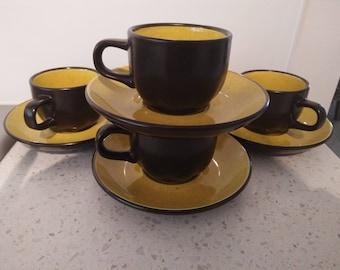 "4 x Vintage Retro Mikasa Terra Stone ""Saffron"" yellow Espresso Coffee Cups - Retro Kitchen - Made in Japan"