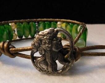 Green Glass Wrap Bracelet