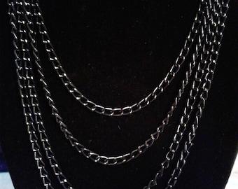 4-Strand Black Diamond Cut Chain Necklace #181