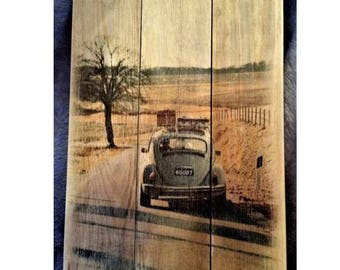 VW Beetle rustic wooden sign